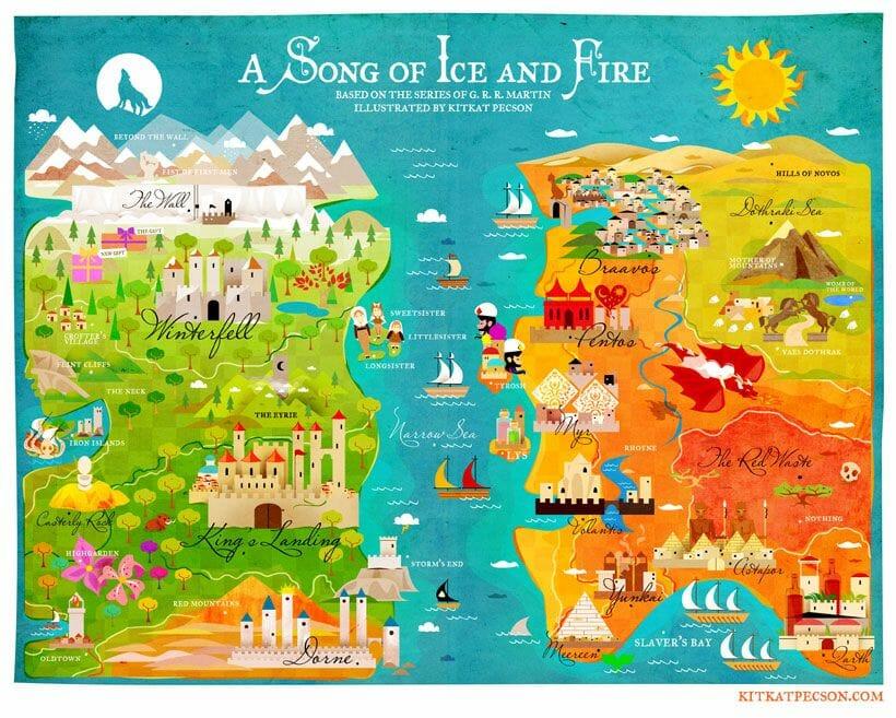 Dónde se rodó Juego de Tronos Mapa de Westeros