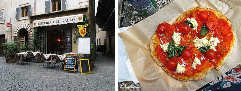 Una osteria en el barrío judío de Roma; y una pizza para llevar en el Trastevere.