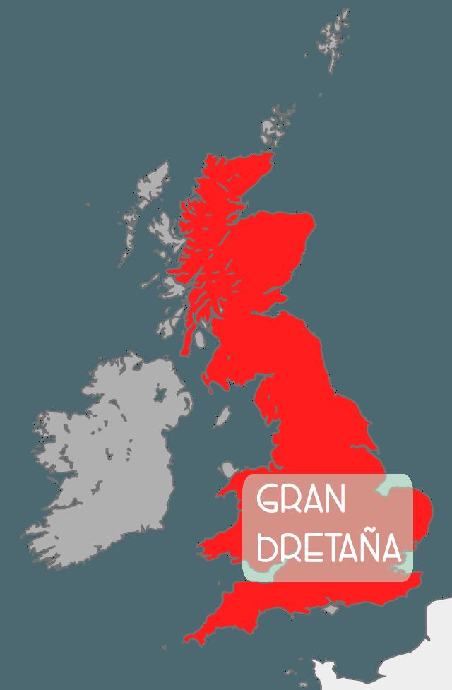La diferencia entre Inglaterra, el Reino Unido y Gran Bretaña. Mapa del Reino Unido. Mapa de Gran Bretaña.