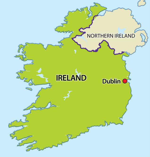 La diferencia entre Irlanda e Irlanda del Norte (mapa)