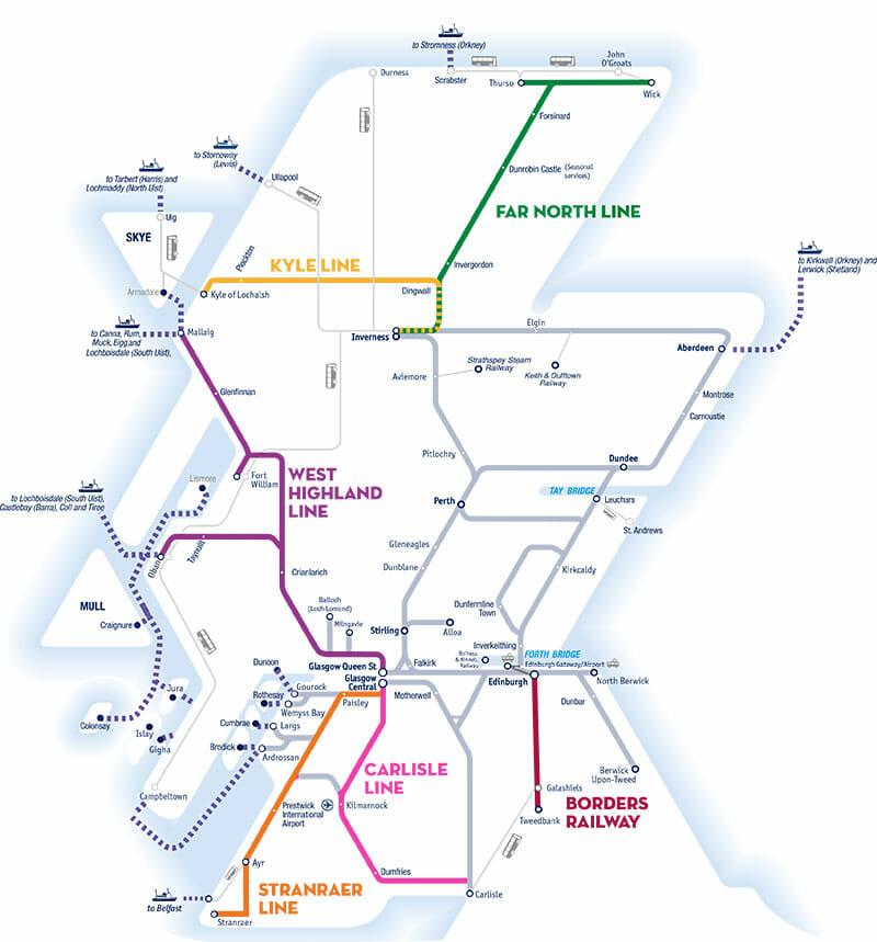 Viajar por Escocia en transporte público - Mapa tren ScotRail