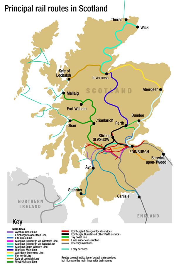 Mapa de trenes de Escocia