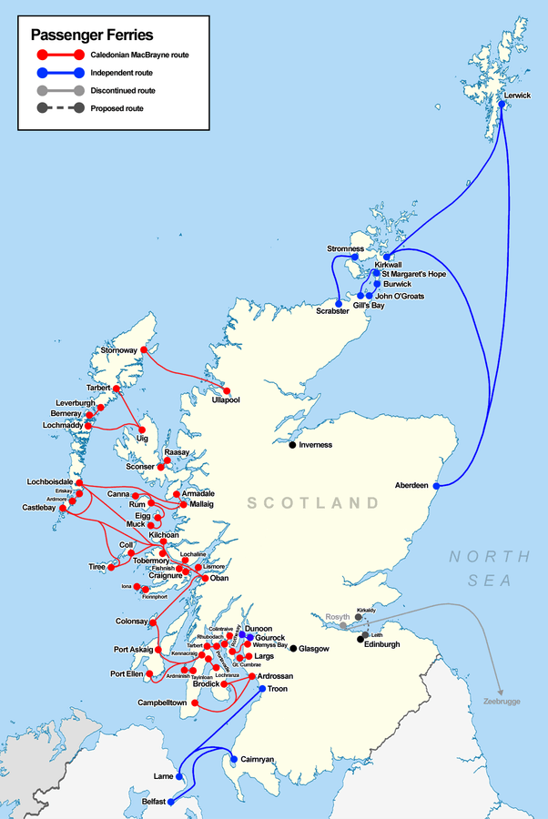 Mapa de ferries de Escocia