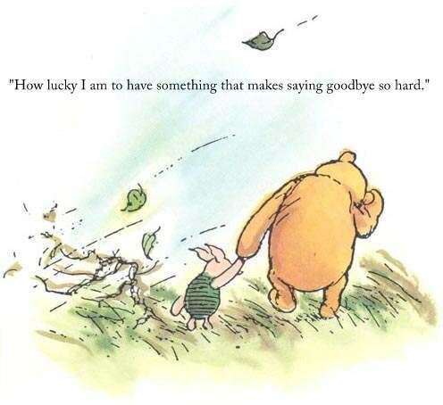 Qué afortunado soy de tener a alguien que hace que decir adiós sea tan difícil